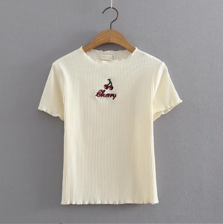 Verano mujeres cereza Bordado Punto de manga corta Camiseta