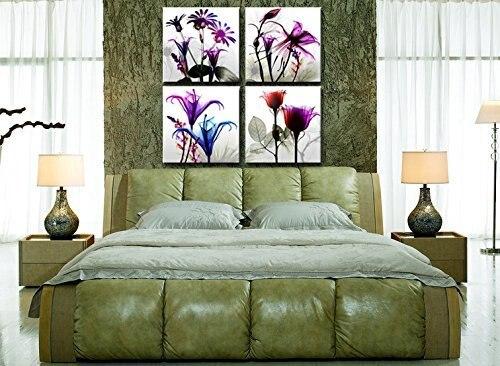 4 stücke Flicking Blumen Bilder Fotodruck auf Leinwand Modulare - Wohnkultur - Foto 2