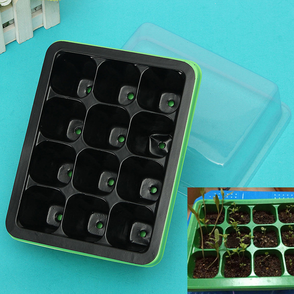 Новая полезная 12 ячеек отверстие семена растений выращивают коробка для распространения сеялки клонирования случае