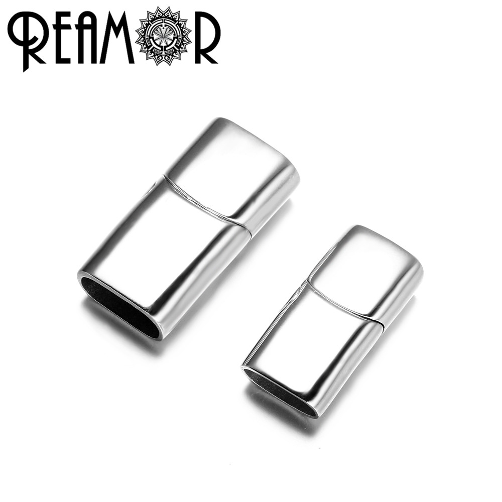 REAMOR 12*6mm 316l Stainless Steel Oblate Buckle Magnet Hook Jewelry Findings Leather Bracelet Magnetic Clasp DIY Jewelry Making