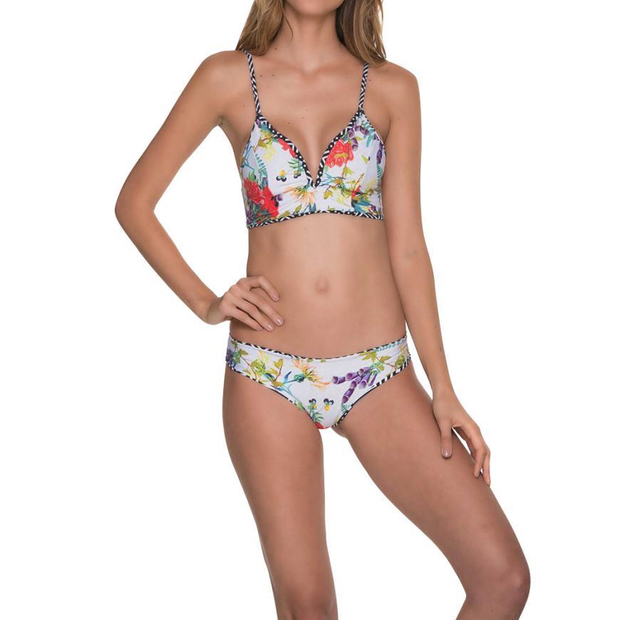 Womail Swimwear Women 2018 Sexy Bikini Set Printed Swimsuit Push Up Padded Bra Swiming suit maio feminino praia #YY15