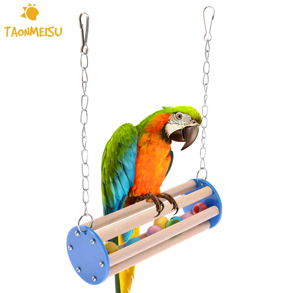 Pet Bird Chew Toys Stand Parrot Ringer Hanging Swing Cage Toy For Cockatiel Parakeet Pet Bird Supplies