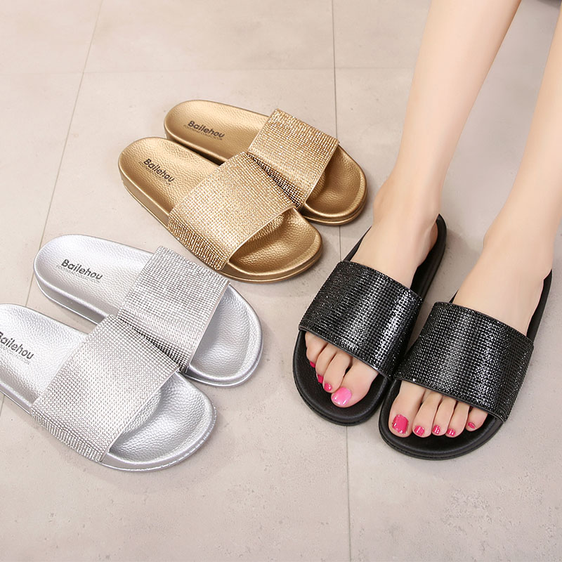 Slippers Shoes Women Home Female Woman Shoes Crystal Summer Beach Women Flip Flops Slides Sandals Flat Slippers Ladies Shoes lin king cute flower women slippers fashion crystal flats summer beach shoes casual woman slides comfortable ladies flip flops