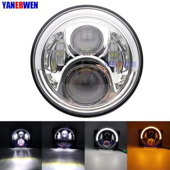 DOT Approved 7''/7 Inch 50W Headlamp Hi/Lo Beam Halo Motorcycle LED Round Headlight Angle Eyes with White DRL & Amber Turn Signa