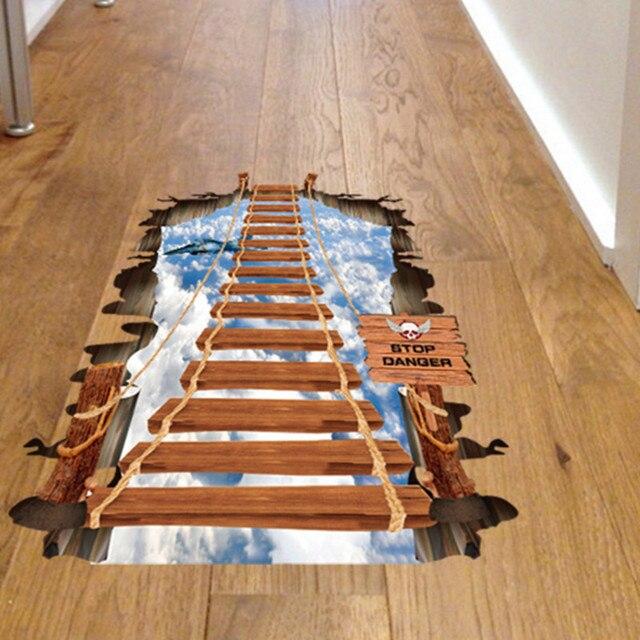 NieNie D Floor Stickers For Kids Room DIY Bridge Floor Wall Sticker - Fake wood floor sticker