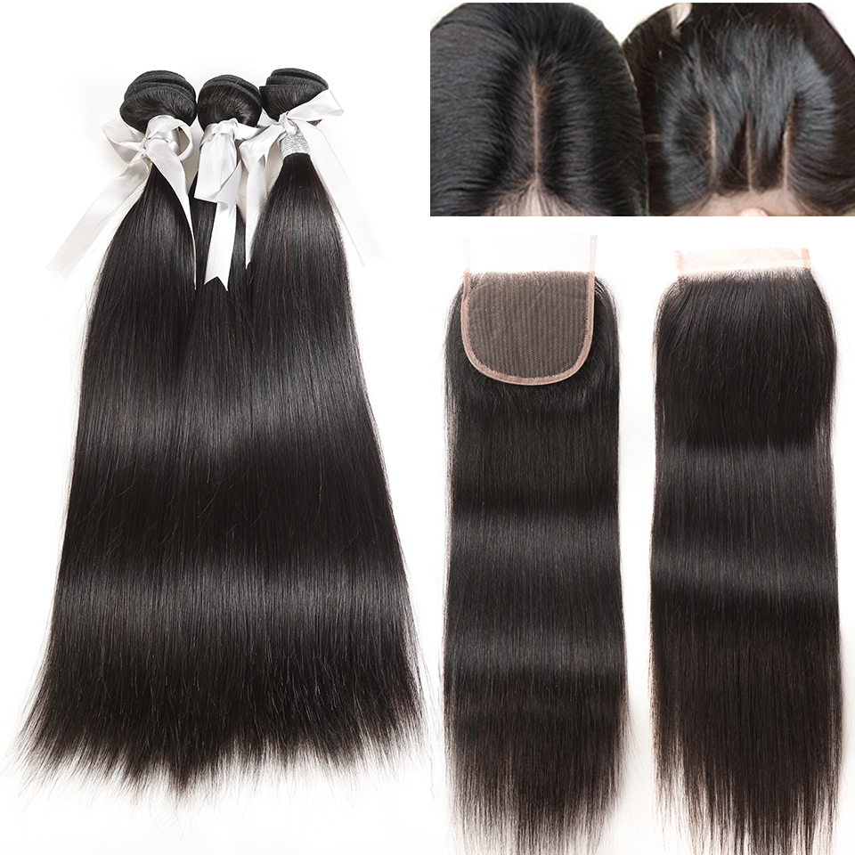 Rebecca Straight Bundles With Closure Brazilian Hair Weave Bundles With Closure Human Hair Bundles With Closure Hair Extension|3/4 Bundles with Closure|Hair Extensions & Wigs - title=