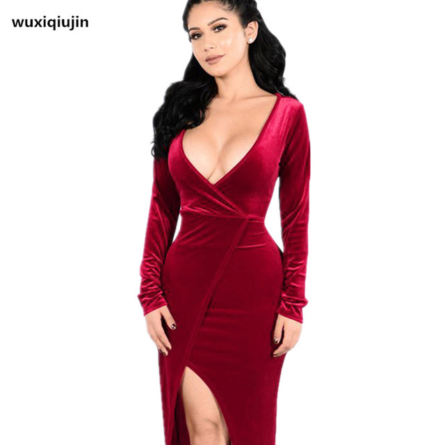 4 color sexy deep v women dress pleuche fabrics 2017 new autumn club dress christmas party