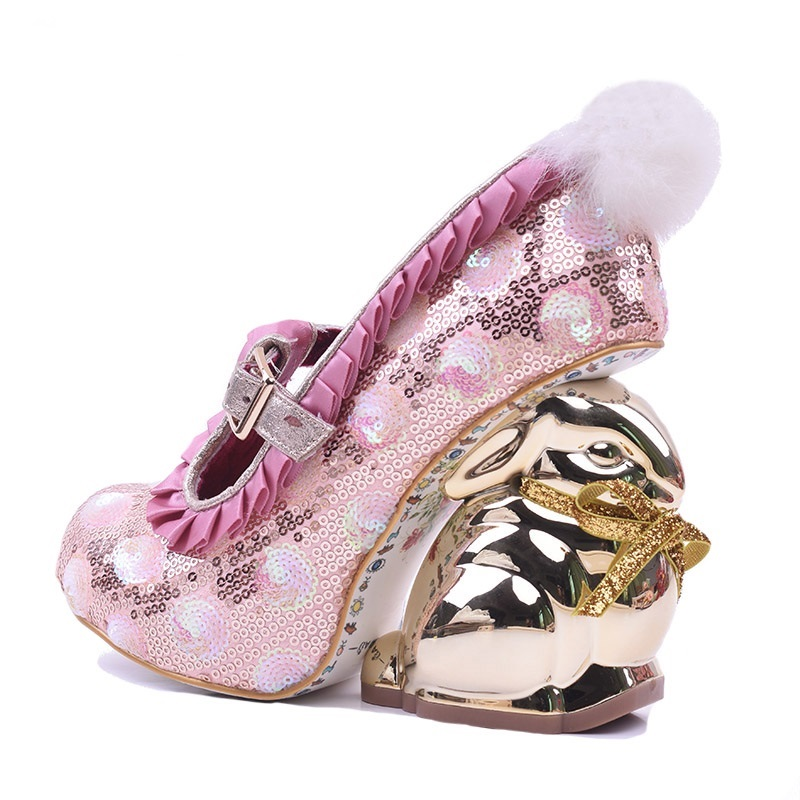 Sapato Feminino Pink Glitter Embellished High Heel Pumps Gold Rabbit Strange Heels Women Shoes Ankle Strap Sequin Dress Shoes new arrivals pale pink shiny leather kawaii rabbit ankle strap sweet lolita shoes 5 5cm heel pumps