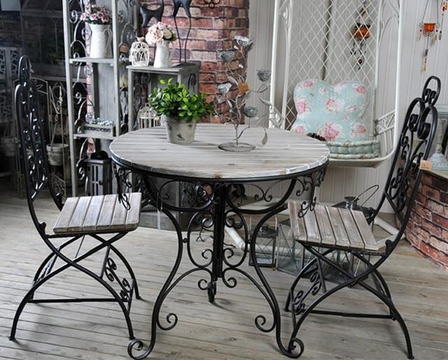 Americana de madera muebles antiguos exterior de hierro for Mesas y sillas para exterior