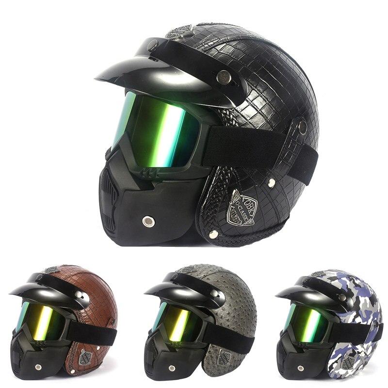 GSPSCN cuir Harley casques moto moto Sport casque ouvert visage Capacete Casco casque modulaire avec masque de lunettes