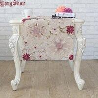 Neueste Design Luxus Rot Kaffee Blumen Handgemachte Satin Cutwork Gestickte Tisch Läufer
