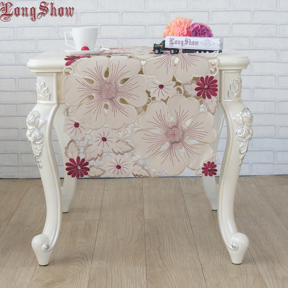 Newest Design Luxury Red Coffee Flowers Handmade Satin Cutwork Embroidered Table Runner