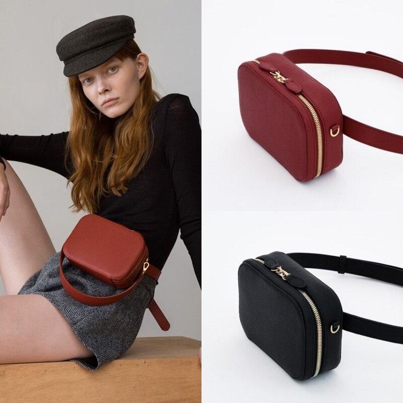 waist bag women round belt bag for women 2018 new Pu Leather chest handbag Korean fashion hight quality