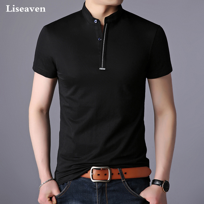 Liseaven Summer T-Shirts Men Tshirt 2018 Short Sleeve Tops&Tees Mens Mandarin Cotton Male T Shirts