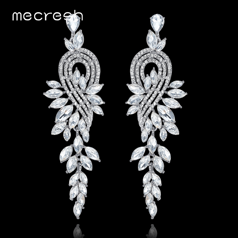 Mecresh European Leaves Long Drop Earrings for Women Silver Color Crystal Hanging Earrings Wedding Engagement Jewelry MEH946 бра odeon light alvada 2911 3w