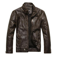 Men Faux Leather Jackets Spring 3Xl Thicken Warm Male Long Sleeve Vintage Jackets And Coats Slim