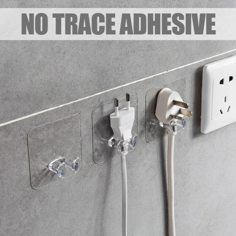 2pcs/Pack Transparent Home Office Wall Powerful Adhesive Plastic Power Plug Socket Holder Hanger Wall Storage Hook High Quality