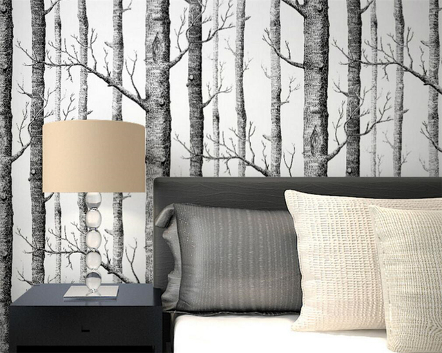 beibehang abstrait noir et blanc branches papier peint tronc arbre branches for t de bouleaux. Black Bedroom Furniture Sets. Home Design Ideas