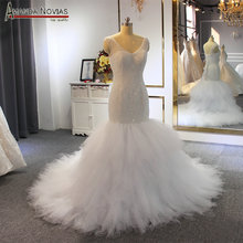Nigeria mermaid wedding dress full beading shinny bride dress mermaid
