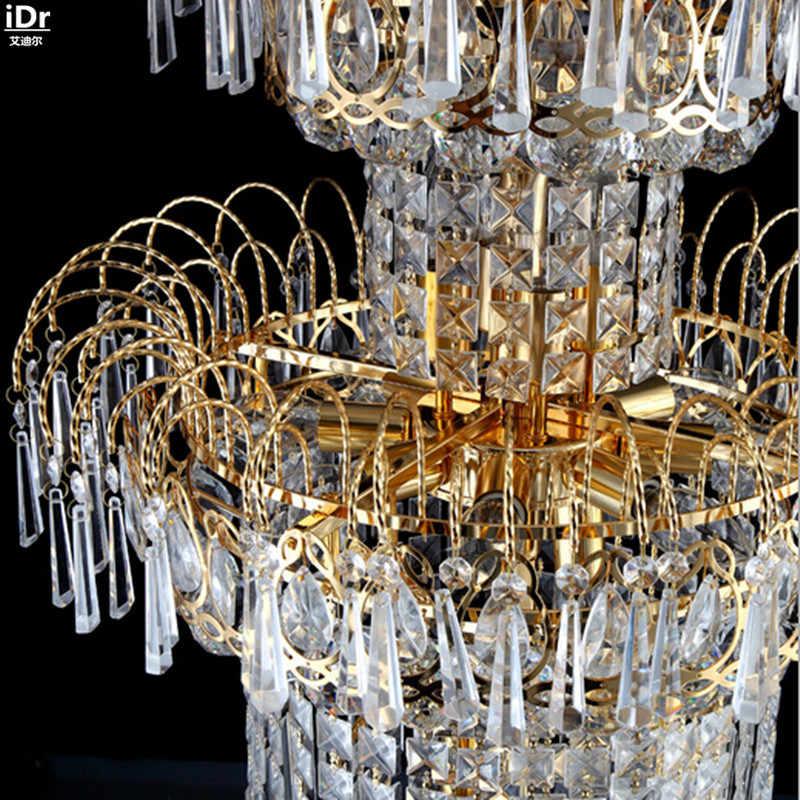 Современный и простой хрустальный светильник золотой двойной лестничный светильник хрустальная лампа для гостиной Роскошная фара люстры Lmy-010