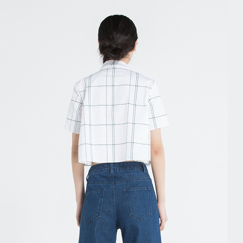 Crop Top Women Loose Button Down Checked Shirt Summer Blouse Cardigan White Blouse Striped Shirt Summer Cardigan Women Tops 2019 in Blouses amp Shirts from Women 39 s Clothing