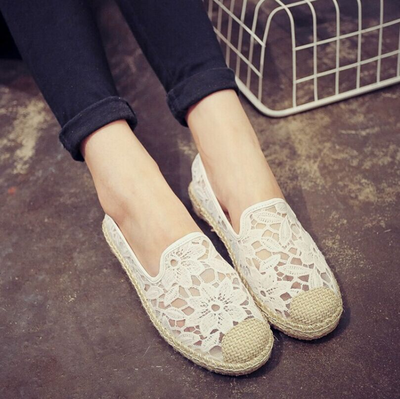 2017 Fashion Women's Summer Espadrilles Shoes White Black Loafers Casual Women Flats Shoes hollow Fisherman straw shoes