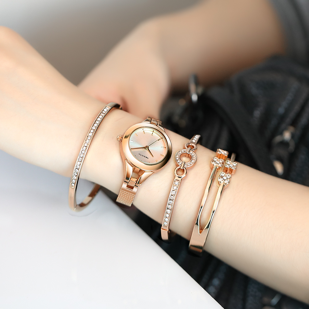 REBIRTH 2018 Ladies Fashion Brand Popular Watch Women Luxury Watch Crystal Bracelet Set Watches Gold Female Ladies Gift Clock xinge fashion brand popular watch women believe in yourself bracelet crystal wristwatch set girls gift clock women 2018 watches