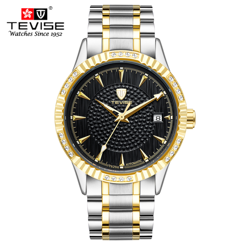 Tevise Automatic Mechanical Watches Stainless Steel Band Wristwatches Men Luxury Diamonds Brand Waterproof Business watch Gift sewor new arrival luxury brand men watches men s casual automatic mechanical watches diamonds hour stainless steel sports watch