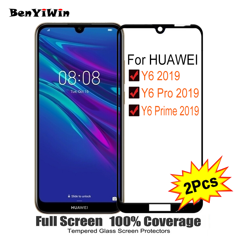 2PCS Full Cover Screen Protector Tempered Glass For Huawei Y6 Pro Prime 2019 6.09