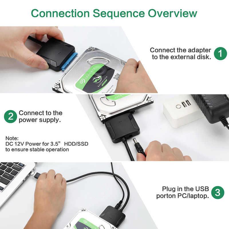 Rovtop USB 3.0 SATA 3 สาย Sata To USB Adapter แปลงสายสนับสนุน 2.5 หรือ 3.5 นิ้วภายนอก SSD อะแดปเตอร์ HDD Hard Drive