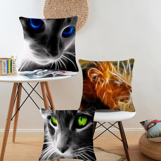 Wholesalers Lion Dog Cat Horse Pillowcase Cover Sofa Throw Pillows Cushions Home  Decor For Car Seat Office Chair