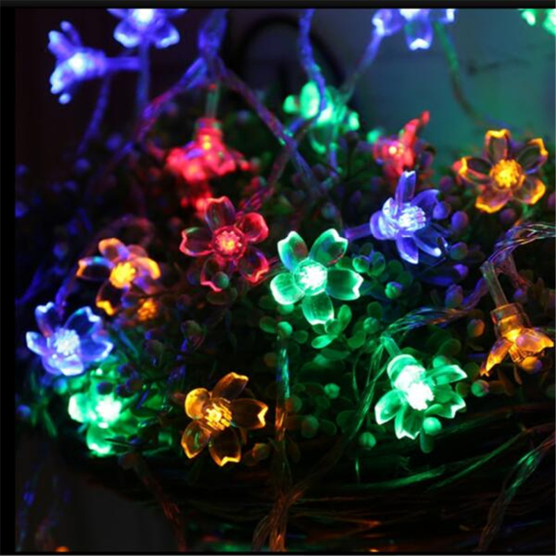 Solar Christmas Light Garland LED String Garland Cherry Blossom Bulb Decorations