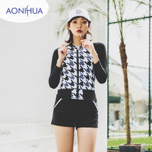 AONIHUA Three Piece Swimsuits Women Vintage Palm wave Print Long sleeve Swimwear female Retro Surfing Bathing Suit