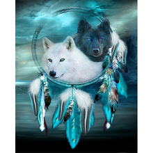 Black wolf and white diamond Embroidery diy painting mosaic diamant 3d cross stitch pictures H822