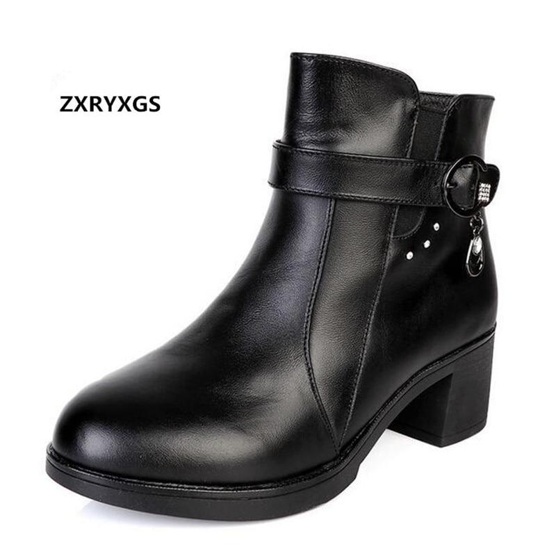 En Zxryxgs Épais Véritable Martin Automne Cheville Noir 2018 Cuir Marque Femme D'hiver Chaussures Talon Bottes Et Strass Nouveau q4L35RjA