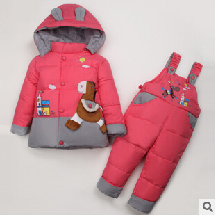 ФОТО 2016 Winter Baby Boys Clothing set Suits Children thick Jacket Parka+Overalls Pants 2pcs clothes sets Kids Warm Coat+pants Suit