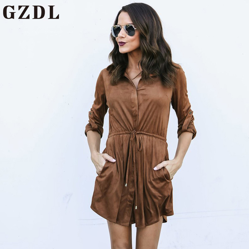 GZDL Casual Hiver Femmes Ceinture Travail Droit Robe Robes Automne Turn-down Col À Manches Longues Poches Solide Mini Robes CL4578