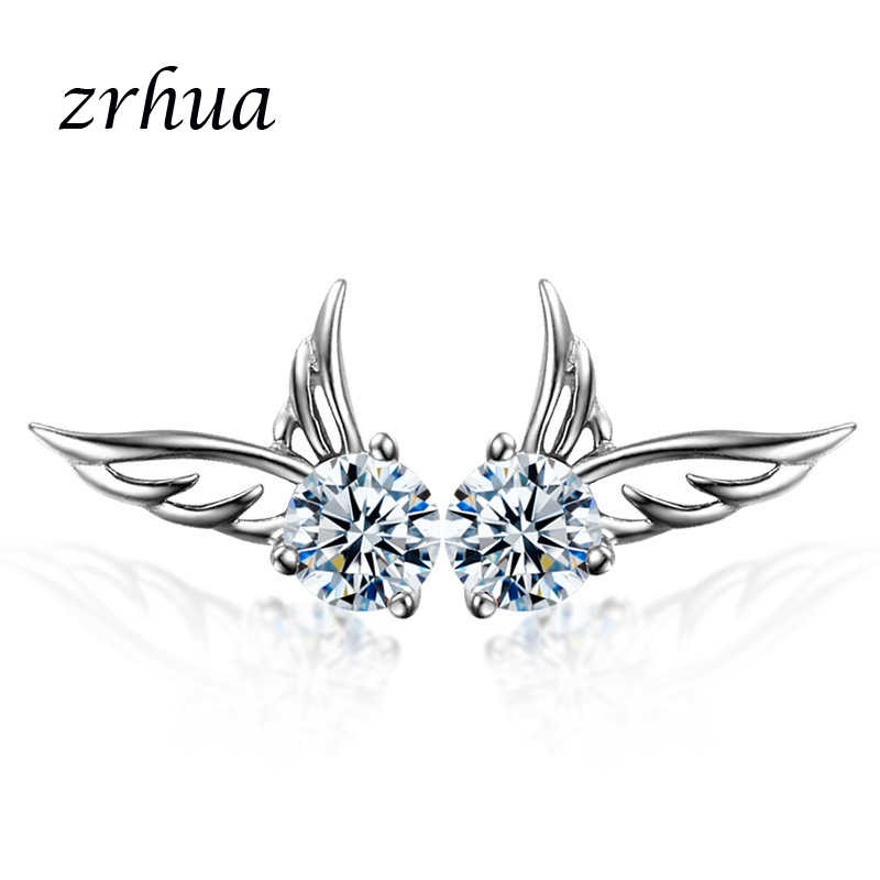 ZRHUA Women Elegant Wing Stud Earrings for Girls Birthday Gifts High Quality Silver 925 Jewelry Earrings Minimalist Jewellery