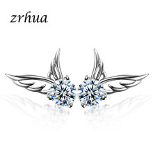 ZRHUA Women Elegant Wing Stud Earrings for Girls Birthday Gifts High Quality Silver 925 Jewelry Earrings Minimalist Jewellery(China)