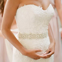 Shiny Rhinestone Czech Stones Crystal Bridal Belt and Sash Wedding Dress Belt Accessories 3m Long 6.8CM wide