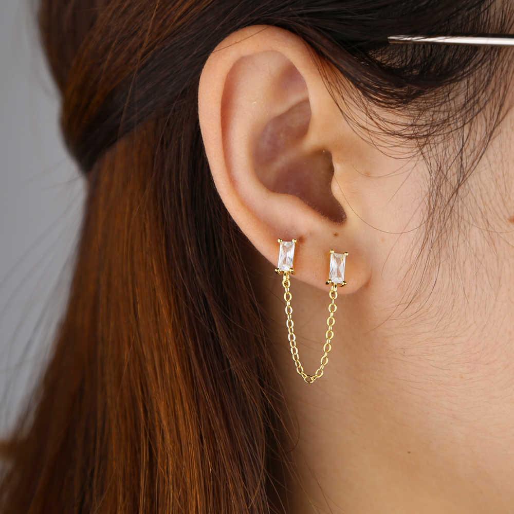 เรียบง่ายหินสแควร์ cubic zirconia สตั๊ดแฟชั่น Gold filled ที่มีสีสันหินต่างหูเครื่องประดับ