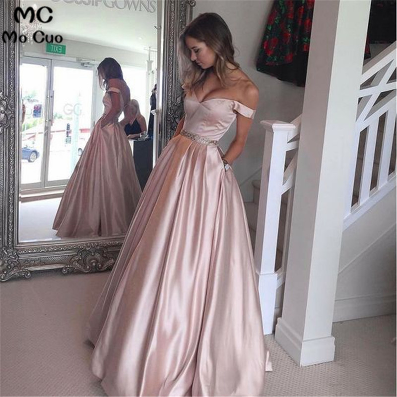 2018   Prom     Dress   Off shoulder V-Neck Pink Satin Floor Length Crystal Belt Draped Evening   dress   Formal Long Women   Prom     Dresses