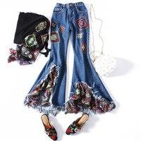 2018 женские летние джинсы обтягивающие расклешенные брюки с вышивкой Лоскутные Соединенные Брюки длиной до щиколотки кисточка с бахромой т