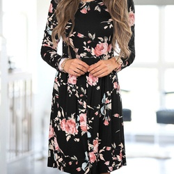 2018 Spring Autumn Dress Women Mini Dress O-Neck Floral Print Long Sleeve Dresses Party Vestidos Femme Dropshipping Y9 5