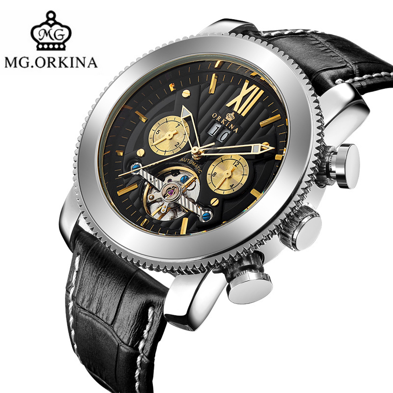MG.ORKINA Mens Watches Automatic Mechanical Wrist Watch Luxury Tourbillon Self-Wind Male Clock Genuine Leather Hour Date Display цена и фото