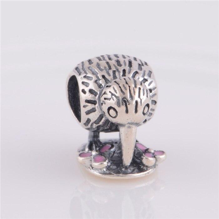 925 Sterling Silver Pink Enamel Kiwi Bird Animal Charm Bead Fit Original Pandora Charms Bracelet jewelry