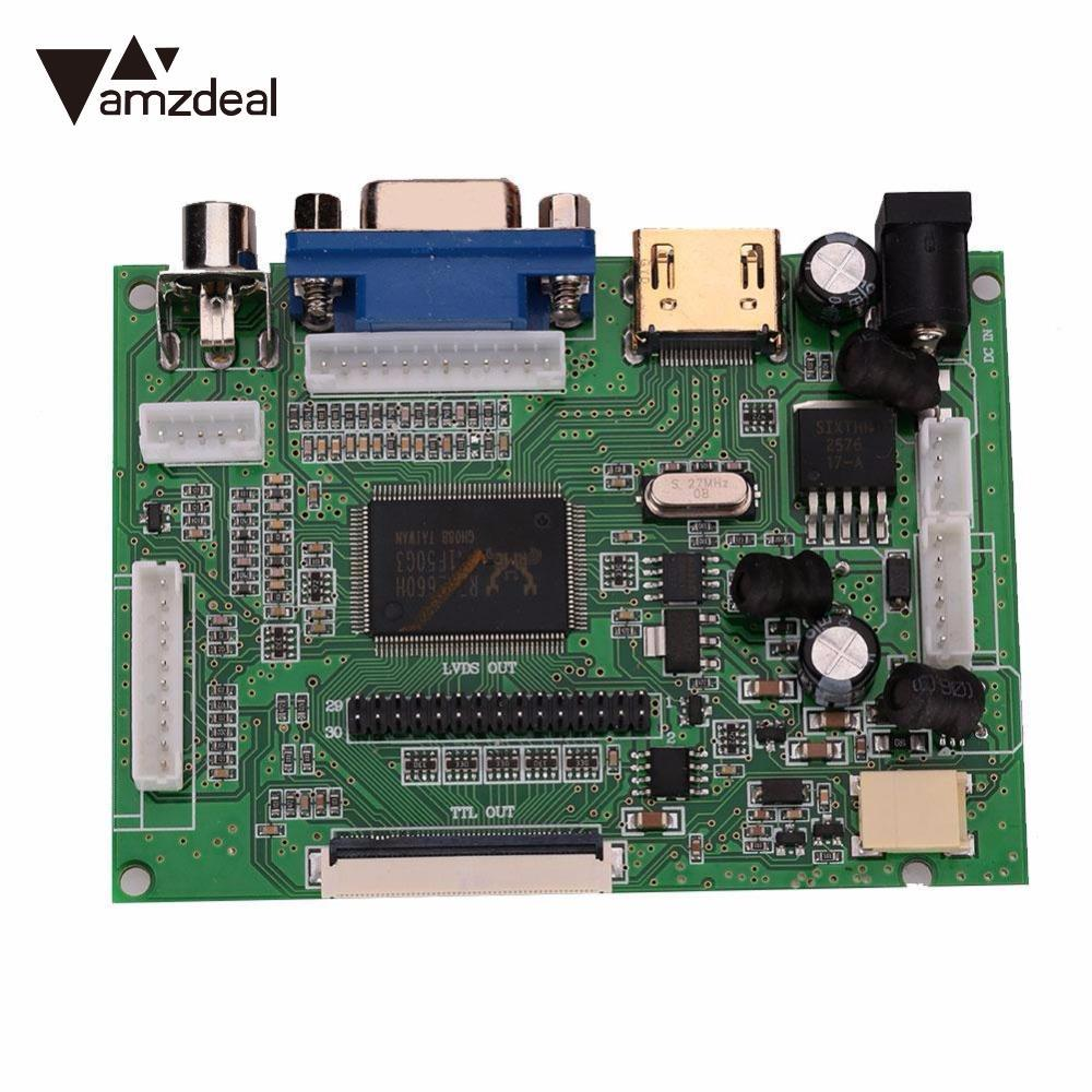 AMZDEAL New HD LCD Display 1024*600 TFT Monitor Screen + Drive Board HDMI / VGA + Remote Control For Raspberry Pi 2/3