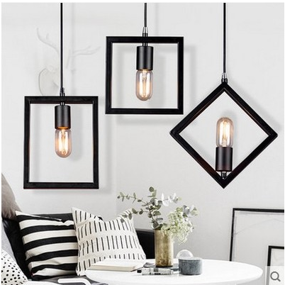 Retro Industrial Cafe Bar Counter Hallway Stairs Single Head Wrought Iron Pendant Lamp
