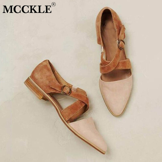 MCCKLE Women Pointed Toe Flock Cross Strap Pump Buckle Female Casual Solid     Footwear Comfortable Retro Ladies Shoes