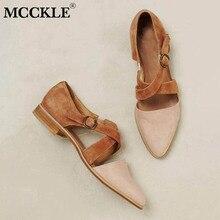 MCCKLE Women Pointed Toe Flock Kreuzriemen Pump Buckle Female Casual Solid Footwear Bequeme Retro Damenschuhe